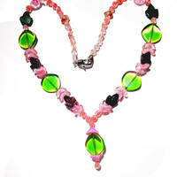 Pink Green Glass Beadednecklace featuring pastel color combinations, Green Glass pendant, Pink color spacers, any occasion gift for the lady