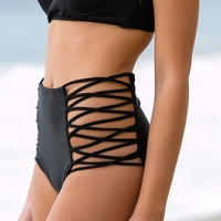 The Girl and The Water - Mara Hoffman - Lattice High Waisted Bottom / Black - $110