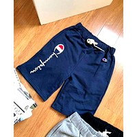 Champion Tide brand embroidery letters for men and women cotton shorts Blue