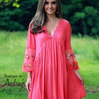 Umgee Coral Dress with Sheer Embroidered Sleeves - Boutique At Audrey's