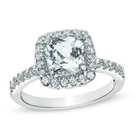 7.0mm Cushion-Cut Lab-Created White Sapphire Ring in Sterling Silver - Size 7 - View All Rings - Zales