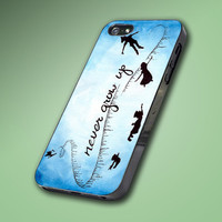 New Peter Pan Quote Never Grow Up Blue - Hard Case Made From Plastic or Rubber - For iPhone 4/4s, 5, 5c, 5s, iPod 4, 5, Samsung S3, S4