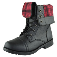 Kids Mid Calf Boots Fold Over Cuff Lace Up Combat Boots Black SZ