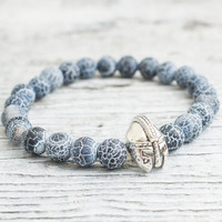 Crackled black agate beaded silver Spartan helmet stretchy bracelet, made to order yoga bracelet, mens bracelet, womens bracelet
