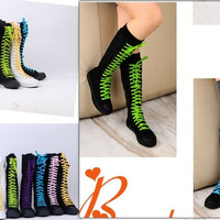 PUNK Women Rock Boot Girls Shoes Sneaker Knee High Zip Laces Up revit boots black = 1945735236