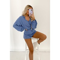 Off The Record Long Sleeve Romper (Moonlight)