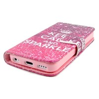ATQ keep calm and sparkle design Wallet PU Leather Stand Case Cover for Apple iPhone 5C with Screen Protector