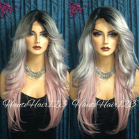 Ombre Grey Pink wig Pastel Lace Part Wig