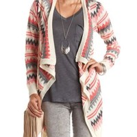 Chevron Striped Cascade Cardigan by Charlotte Russe - Ivory Combo