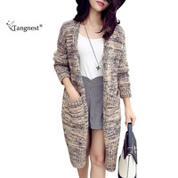 TANGNEST Wool Blend Casual Long Knitted Cardigan 2016 New Autumn Winter Woman Fashion Open Stitch Loose Sweater Doudoune WWK450