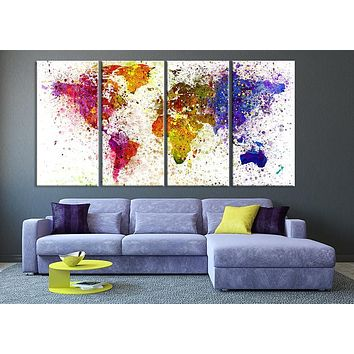 Paint Splashes over World Map Silhouette Canvas Print 4 Panel World Map Art Large Art World Map