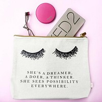 Eyelash Dreamer Cotton Canvas Cute/Cool/Unique Zipper Pouch/Bag/Clutch/Cosmetic/Makeup Bag