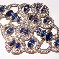 "Art deco Belt Buckle Sapphire Tanzanite & Clear Rhinestones Silver Metal 3"" Vintage"