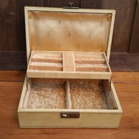 Vintage Tan Faux Leather Mele Jewelry Box with Key Great For Jewelry Storage and Display