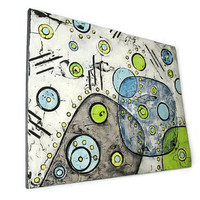Mid Century Modern Textured Painting in gray, lime, blue, geometric wall art, abstract painting, acrylic mixed media on art panel