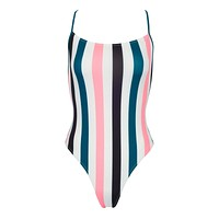 The Chelsea High Cut One Piece Swimsuit - Black/Jade Blue/Coral Pink Stripe Print