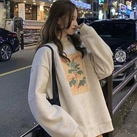 【Final Sale】Vintage Style Floral Print Sweatshirt with Fleece
