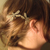 Bronze Dragonfly Bobby Pins, Set of Two, Antique Bronze, Nickel Free Dragonflies, Dragonflies, Dragonfly Hair Clips, Bronze Dragonflies