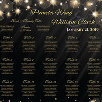 Printable Wedding Seating Chart | PDF file | 18 x 24 Wedding Seating Chart - Winter New Years Heaven Gold Sparkles Black - EMAIL Delivery