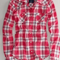 AEO Women's Plaid Western Shirt