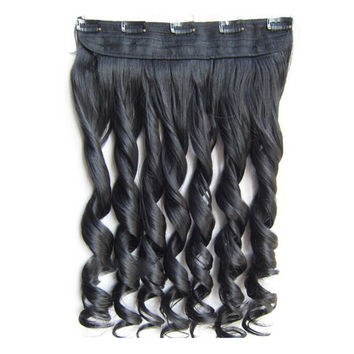 Long Curled Hair Extension 5 Cards Wig   high temperature silk 1B# natural black