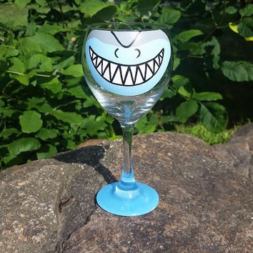 Shark Face hand-painted wine glass