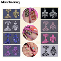 Hot 108pcs sheet 8colors optional 3d Flowers Nail Art Stickers Adhesive Metallic UV Gel Polish Nail Tips Decals Decorations