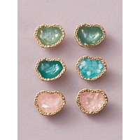 3pairs Colorful Stud Earrings