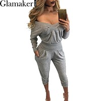 Glamaker Cross front off shoulder elegant jumpsuit romper Autumn casual women two piece outfits Sexy fitness overalls