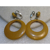 Butterscotch Bakelite Hoop Clip Earrings, 1940's, Stud and Dangle,  2-1/8""