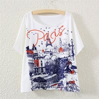 White Short Sleeve Castle Print T-Shirt