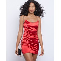 Out And About Satin Mini Dress
