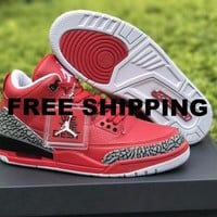 【FREE SHIPPING】AIR JORDAN 3 ' GREATEFUL WE THE BEST STILL IN THE MEETING' AJ3 BASKETBALL SHOES FOR WOMEN & MEN