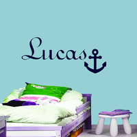 Wall Decals Anchor Decal Personalized Name Decal   Vinyl Sticker   Decal  Boy Baby Children Nursery Bedroom Decor Art Murals MN219