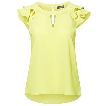 Stretchy Chiffon Ruffled Cap Sleeve Keyhole Blouse Top (CLEARANCE)