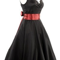 50s Retro Sweetheart Cocktail Dress in Black Satin with Red Sash - Hey Viv !