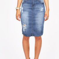 In Distress Denim Pencil Skirt