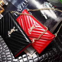 YSL Fashion new diamond letter mobile phone shell chain leather case women phone case protective cover bag two color