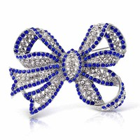 Bling Jewelry Sparkly Sapphire Bow