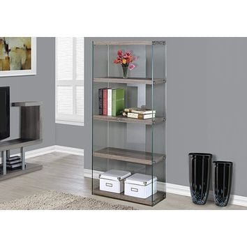 """Modern Bookshelf - 60"""" Particle Board and Clear Tempered Glass Bookcase"""