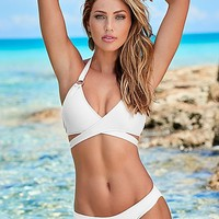 Wrap halter, low rise moderate