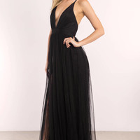 Luxxel Jaclyn Fishnet Overlay Maxi Dress