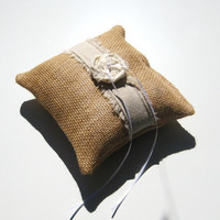 Burlap Ring Bearer Pillow, With Freyed Linen, Ivory Rose