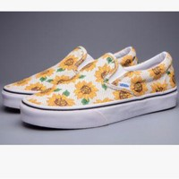"""""""Vans"""" Casual Shoes yellow sunflower low tops"""