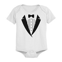 Cute Tuxedo Baby Bodysuit - Pre-Shrunk Cotton Snap-On Style Baby Onesuit