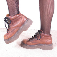 vintage 90's Granny Leather Lace Up Grunge Combat Ankle Boots womans us 6