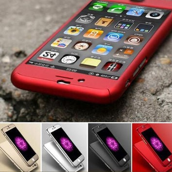 360 Degrees Full Protect Case Cover For iPhone 6 6S 6 6S Plus Free Gift Tempered Glass Screen Protector+ Free Gift Box