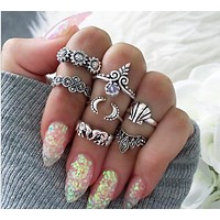 7 sets of retro ring jewelry sunflower shell elephant crown moon joint ring sets