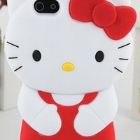 Red White Black Yellow Hello Kitty Hair Bow Silicon Rubber Phone Case Cover