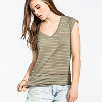 Volcom Moclov Womens Pocket Tee Olive  In Sizes